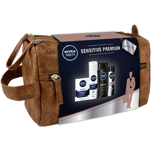 Set cadou NIVEA Men Sensitive Premium: Balsam dupa ras, 100ml + Gel de ras, 200ml + Sampon, 250ml + Deodorant spray, 150ml