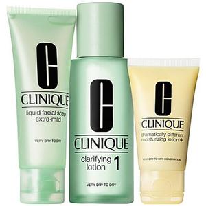 Set cadou CLINIQUE 3 Step Skin Care, ten uscat: Sapun lichid pentru fata, 50ml + Lotiune pentru catifelare, 100ml + Lotiune hidratanta, 30ml
