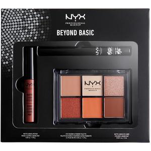 Set NYX Beyond Basic-18: Paleta fard de pleoape + Ruj + Tus de ochi