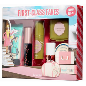 Set cadou BENEFIT First Class Faves: Crema + Primer + Ruj + Fard de obraz + Mascara