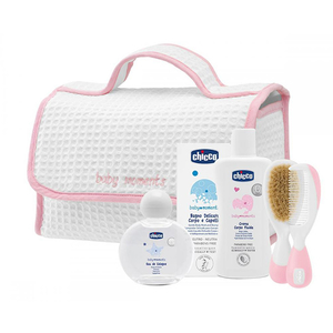 Set CHICCO Baby Moments: Gentuta + Apa colonie 100ml + 2 in 1 Gel de dus si Sampon 200ml + Lotiune corp 200ml + Set piepten si perie