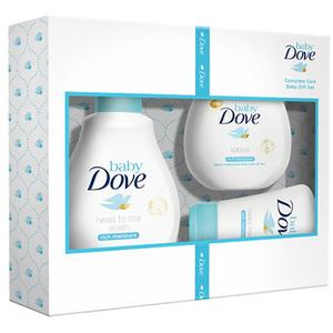 Set cadou DOVE Baby Rich Moisture: Lotiune de spalare pentru par si corp, 200ml + Lotiune de corp, 200ml + Crema scutec, 45g