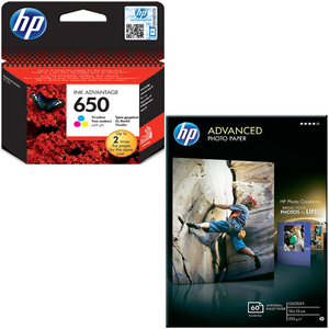 Pachet cartus color HP 650 (CZ102AE) + hartie foto HP Advanced Q8008A, 10 x 15cm, 60 coli