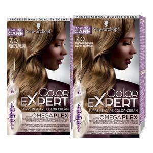 Pachet promo, Vopsea de par SCHWARZKOPF Color Expert, 7.0 Blond Inchis, 2 x 147ml