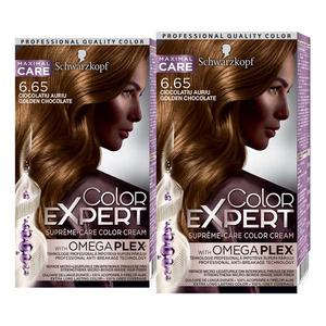 Pachet promo, Vopsea SCHWARZKOPF Color Expert, 6.65 Ciocolatiu Auriu, 2 x 147ml