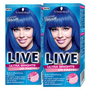 Pachet promo, Vopsea de par SCHWARZKOPF Live XXL Ultra Brights, 095 Blue, 2 x 80ml