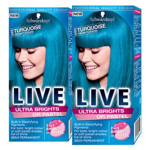 Pachet promo, Vopsea de par SCHWARZKOPF Live XXL Ultra Brights, 096 Turquoise, 2 x 80ml