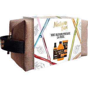 Set cadou NATURE BOX Apricot: Gel de dus, 385 + Exfoliant pentru corp, 200ml + Ulei de corp, 150ml