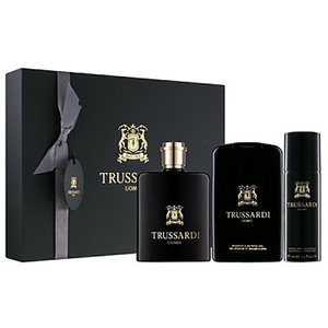 Set cadou TRUSSARDI Trussardi Uomo: Apa de toaleta, 100ml + Gel de dus, 200ml + Deodorant spray, 100ml