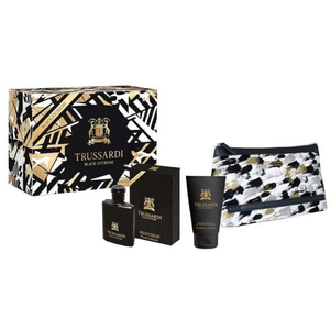 Set cadou TRUSSARDI Man Black Extreme: Apa de toaleta, 50ml + Gel de dus, 100ml + Geanta