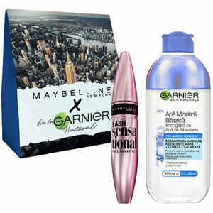 Set cadou GARNIER Skin Naturals: Apa micelara bifazica cu albastrele, 400ml + Mascara MAYBELLINE Lash Sensational, Black