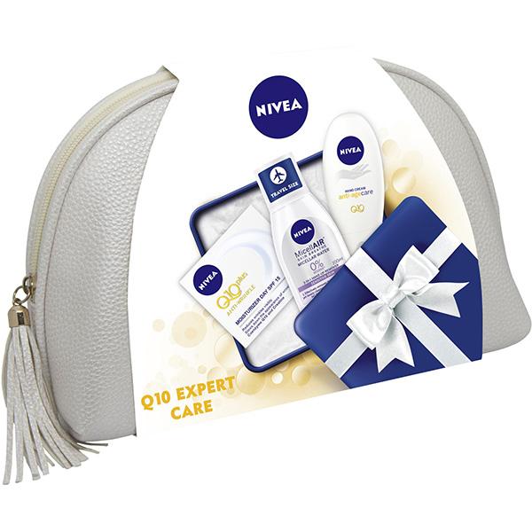 Set cadou NIVEA Q10 Expert Care: Crema de fata, 50ml + Crema de maini, 75ml + Apa micelara, 100ml