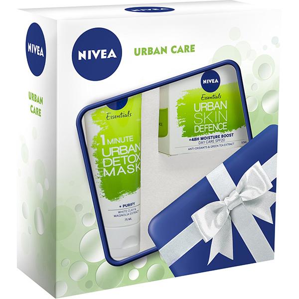 Set cadou NIVEA Urban Care: Masca de fata, 75ml + Crema de zi, 50ml