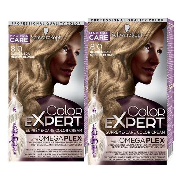 Pachet promo, Vopsea de par SCHWARZKOPF Color Expert, 8.0 Blond Mediu, 2 x 147ml