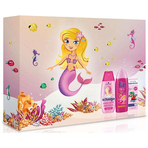Set cadou SCHAUMA pentru fetite: Gel de dus FA Kids Mermaid, 250ml + Sampon SCHAUMA Girls, 250ml + Pasta de dinti VADEMECUM Junior Strawberry, 50ml