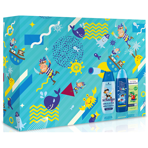 Set cadou SCHAUMA pentru baietei: Gel de dus FA Kids Pirate, 250ml + Sampon SCHAUMA Boys, 250ml + Pasta de dinti VADEMECUM Junior Apple, 50ml
