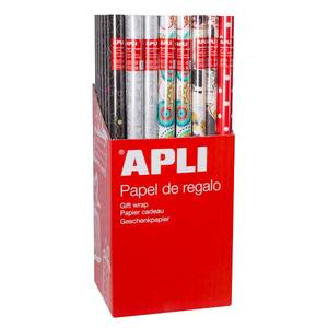 Hartie de impachetat APLI, 70 cm x 2 m, hartie, diverse modele, 55 bucati/set