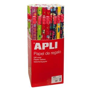 Hartie de impachetat APLI, 70 cm x 2 m, hartie, multicolor, 55 bucati/set
