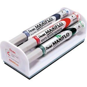 Set 4 markere asortate + burete magnetic PENTEL Maxiflo
