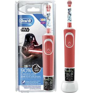 Periuta de dinti electrica pentru copii ORAL-B D100 Vitality Star Wars, Curatare 2D, 2 programe, 7600 miscari/min, 1 capat, rosu