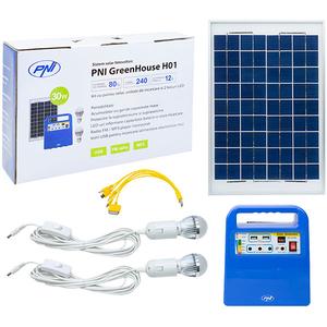Sistem solar fotovoltaic PNI-SUNH01, 30W, USB, Radio, MP3, 2 becuri