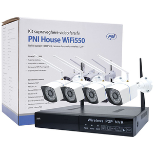 Kit supraveghere video Wireless PNI House WiFi550, 4 camere HD 720p, NVR, 8 canale, alb-negru