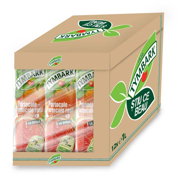 Nectar natural TYMBARK Portocale Rosii bax 1L x 12 cutii