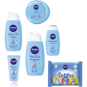 Set cadou NIVEA Baby: Sampon&Gel de dus, 500ml + Lotiune de corp, 500ml + Cream SOFT, 200ml + Crema Fundulet, 100ml + Bubble Bath, 500ml + Servetele umede Toddies, 60 buc