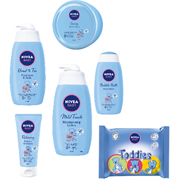 Set cadou NIVEA Baby: Sampon&Gel de dus, 500ml + Lotiune de corp, 500ml + Cream SOFT, 200ml + Crema Fundulet, 100ml + Bubble Bath, 500ml + Servetele umede Toddies, 60 buc