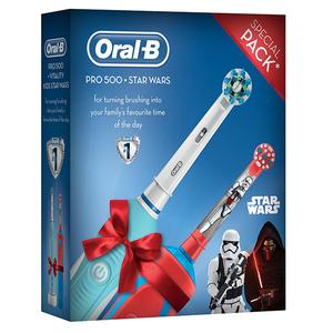 Set: Periuta de dinti electrica ORAL-B PRO 500 + Periuta de dinti electrica pentru copii Oral-B Vitality Star Wars