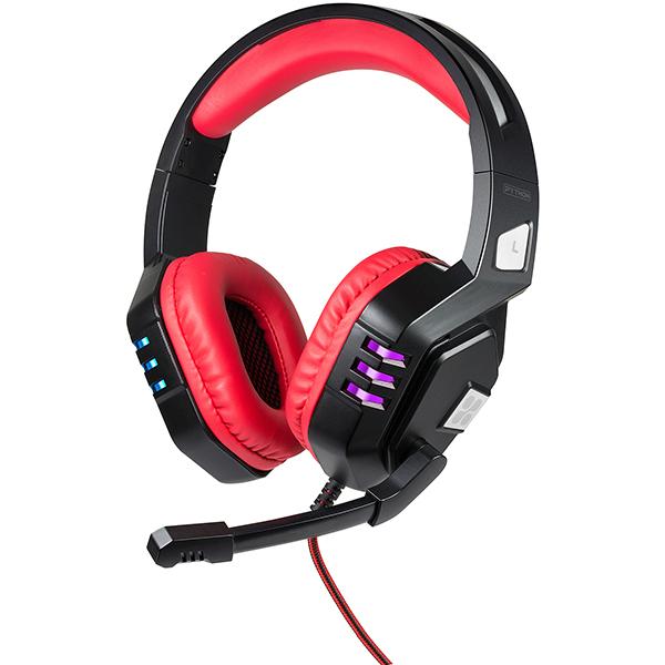Casti Gaming PROMATE Python, USB, negru-rosu