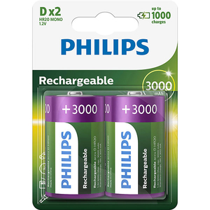Acumulatori PHILIPS R20B2A300/10, D, 3000 mAh, 2 bucati