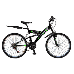 "Bicicleta Mountain Bike-HT RICH SPORT R2448A, 24"", Full Suspension, cadru otel, negru - verde"