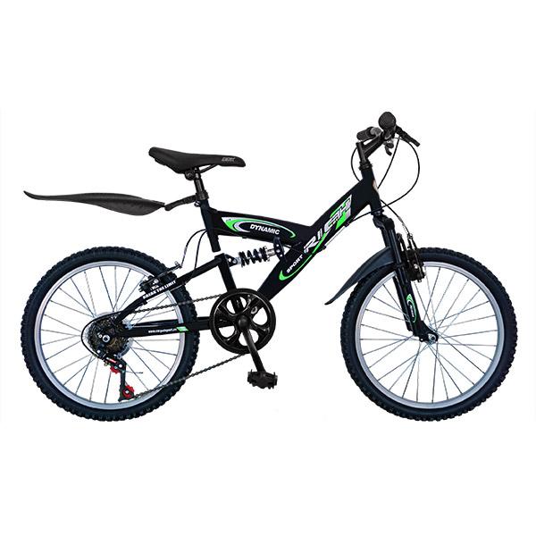 """Bicicleta de copii MTB F.S. RICH R2048A, 20"""", otel, negru-verde"""