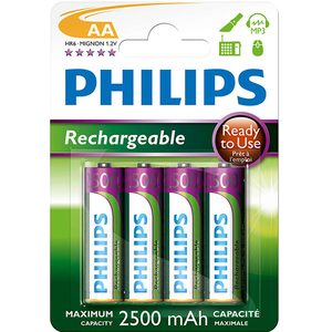 Acumulatori PHILIPS R6B4RTU25/10, AA, 2400 mAh, 4 baterii