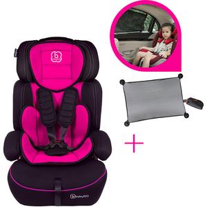 Pachet Scaun auto BABYGO Freemove + Parasolar auto Bungee Sun Shade 2 in 1 BGO-3106, 5 puncte, 9 - 36kg, roz-negru