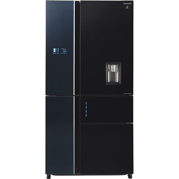 Side-by-Side SHARP SJ-WX830FBK, Hybrid Cooling, 650 l, 185 cm, Clasa A+, negru
