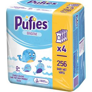 Servetele umede PUFIES Sensitive, 4 pachete, 256 buc