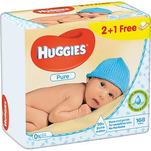 Servetele umede HUGGIES Pure, 2 + 1 pachete, 168 buc