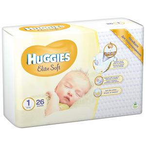 Scutece HUGGIES Elite Soft 1, Unisex, 2 - 5 kg, 26 buc