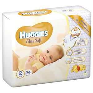 Scutece HUGGIES Elite Soft 2, Unisex, 4 - 7 kg, 24 buc