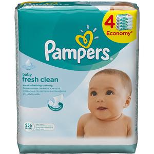 Servetele umede PAMPERS Baby Fresh Clean, 4 pachete, 256 buc