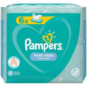 Servetele umede PAMPERS Fresh Clean, 6 pachete, 312buc