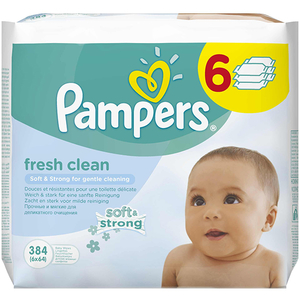 Servetele umede PAMPERS Baby Fresh Clean, 6 pachete, 384 buc