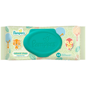 Servetele umede PAMPERS Natural Clean Single, 64 buc