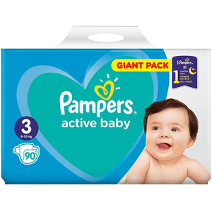 Scutece PAMPERS Active Baby Giant Pack 3, Unisex, 6 - 10 kg, 90 buc