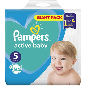 Scutece PAMPERS Active Baby Giant Pack 5, Unisex, 11 - 16 kg, 64 buc