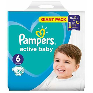 Scutece PAMPERS Active Baby Giant Pack 6, Unisex, 13 - 18 kg, 56 buc