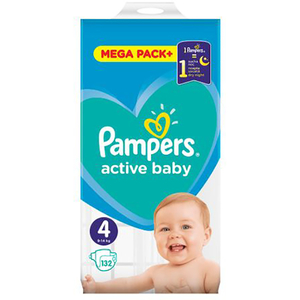 Scutece PAMPERS Active Baby Mega Pack 4, Unisex, 9 - 14 kg, 132 buc