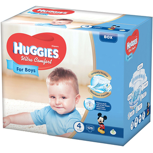 Scutece HUGGIES Ultra Comfort 4, Baieti, 8 - 14 kg, 126 buc